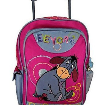 """Disney Winnie the Pooh Eeyore Donkey Embroidered 16"""" Rolling Backpack- NEW!"""