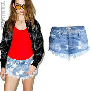 Women's Fashion Mini Print Denim Pants [11474123855]