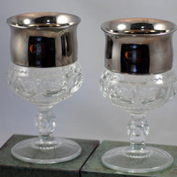 Pair Of Vintage Kings Crown Thumbprint Goblets With Silver Trim