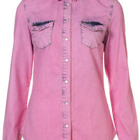 MOTO Overdyed Pink Denim Shirt - Tops  - Clothing