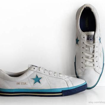 White leather Converse One Star sneakers, vintage trainers, low tops, casual shoes, wh