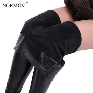 Black Leather Fleece Lined Leggings Winter Tights Thick Warm Fur
