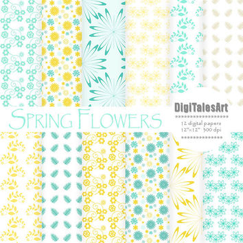 "Floral digital paper ""Spring Flowers"" flower digital clip art papers in blue, yellow, patterns, download, floral background"