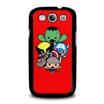 kawaii captain america hulk thor wolverine marvel avengers samsung galaxy s3 case cover  number 2