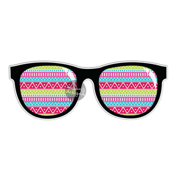 Tribal Sunglasses Sticker - Colorful Summer Car Decal Bumper Sticker Laptop Decal Sunnies Beach Art Wall Decal Cute Sunglasses Aztec Pattern