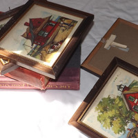 early Americana lithos of Red schoolhouse old General store & the Whisltle stop