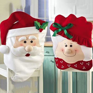 Christmas Dining Dinner Table Chair Back Cover Decor Sweet New Xmas Santa Claus Chair Cover Christmas Decorations For Home Chair