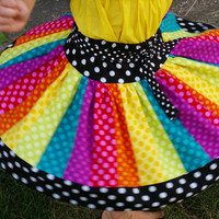Rainbow Twirl Skirt for Girls The Carousel by BeneathTheRowanTree