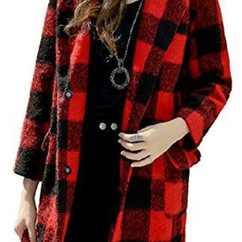 Pandapang Womens Basic Plaid Lapel Pocket Wool Blend Trench Coat