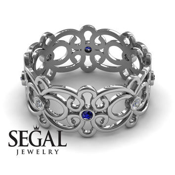 Anniversary ring 14K White Gold Filigree Ring Sapphire And White diamond - Alaina