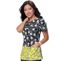 koi Women's Regina Split V-Neck Print Top