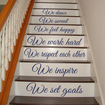 Dancer Wall Decal Stairs Quote Dancing Art Mural Stair Riser Vinyl Stickers Home Bedroom Stairs Decor Living Room Design Interior KY115