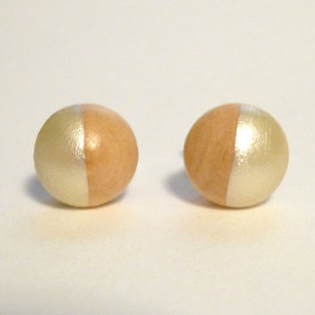 Pearl post earrings, wood stud earrings, button studs, tiny posts