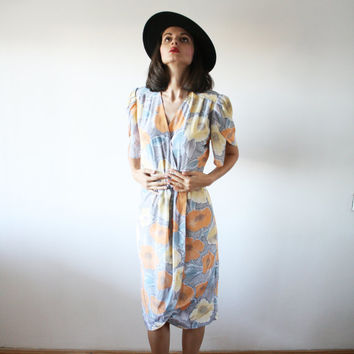 Pastel color midi dress Vintage wrap 50's dress Modern art deco pattern dress with a hint of drama in style (S/M)