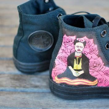 hand painted frida kahlo converse chuck taylor hi top sneakers