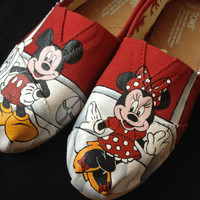 Custom Hand Painted Shoes - Minnie and Mickey Mouse Evolution