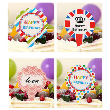 50pcs Happy Birthday Cake Cupcake Cake Topper Food Topper Shower Party Pick HU