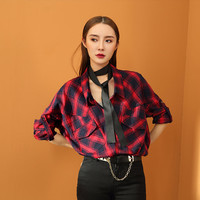womens plaid shirt,plaid shirt,plaid shirt women,oversized shirt,check shirt,grunge shirt,long sleeve shirt,fashion top.plaid blouse--E0748