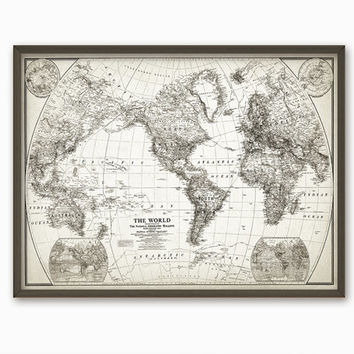 Rustic World Map Wall Art Poster   Vintage Map Reproduction   Travel Decor    Antique M