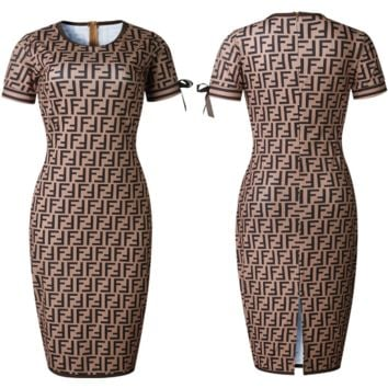 Fendi Popular Women F Letter Print Short Sleeve Round Collar High Waist Knee-Length Dress