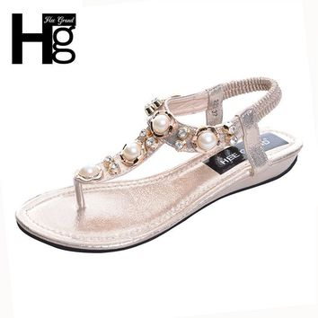 HEE GRAND 2017 Summer New Bohemia Wedge Women Sandals Rhinestone Woman Flip Flops Vint