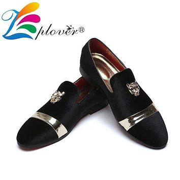 Velvet Loafers Mens Slip On Wedding Faux Suede With Metal  Flat Tiger Chic Shoes