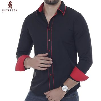 Men Long Sleeved Dress Double Collar Button Unique Design Slim Fit  Shirts