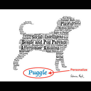 Puggle, Puggle Art, Puggle Illustration, Puggle Artwork, Puggle Print, Custom, Personalize, Pet Gift, Dog Art, Pet Memorial, Custom Dog