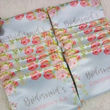 Bridesmaid Emergency Kit makeup bag - Floral Custom Bag -  Floral Cosmetic bag - Floral Bridesmaid Pouch - Bridesmaid Clutch - Custom Clutch