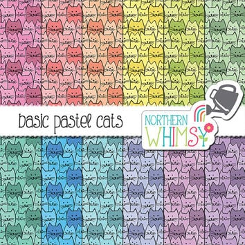 Cat Digital Paper - Hand drawn cat seamless patterns in pastels - pink, peach, yellow, blue, purple & pink - scrapbook paper -commercial use
