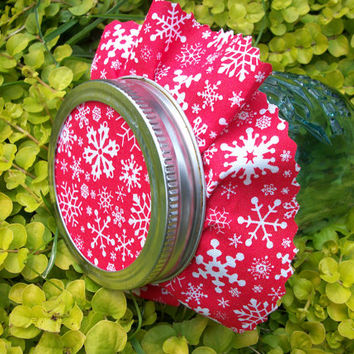 12 Red Snowflake Christmas Jam Covers, fabric cloth toppers for mason jars, food preservation, holiday gifts