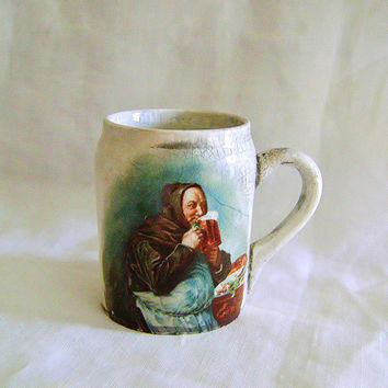 Miniature Stein Mug Match Striker - Match Stiker Transfer Art Monk, Victorian Match Holder ca 1880s