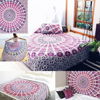 Hippie Mandala Tapestry 100% Cotton Hand Block Print Indian Wall Hanging Fabric or Bed Sheet Beach Towel Table Cloth
