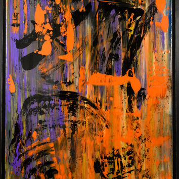 Affairs of the Damned- an original abstract painting, acrylic painting, framed painting, floater frame, wod frame, dark art, large painting