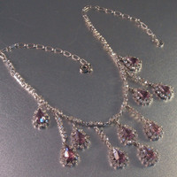 Art Deco Bib Necklace, Open Back Amethyst Crystal Rhinestone, Rhodium Plate