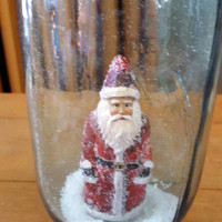 Vintage Blue Mason Jar Waterless Snow Globe Santa
