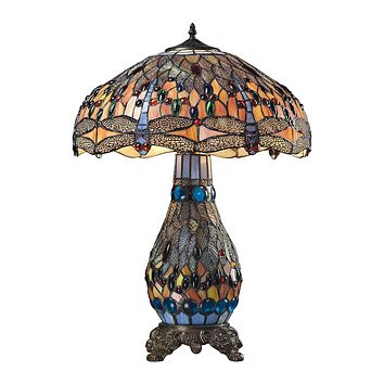 Dragonfly Tiffany Glass Table Lamp in Tiffany Bronze
