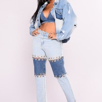 Bastille Grommet Boyfriend Jeans - Light Blue Wash