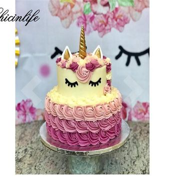 Chicinlife 1set Unicorn Cake Cupcake Toppers Horn Ears Cake Baking Tools Decorations Baby Shower Birthday Party Decorations