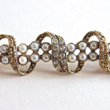 Pearl & Rhinestone Bar Brooch Pin, Spiral Design, Vintage Over 3 Inches