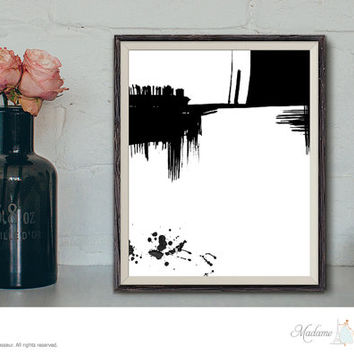 printable art abstract expressionist ink drawing digital art black and white art prints minimalist art modern art instant download art print