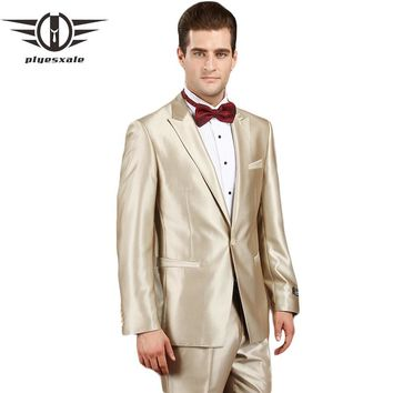 Wedding Suits For Men Champagne Tuxedo Men Prom Suits Latest Coat Pant Designs Groom Suit Clothing