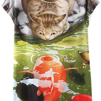 Cat and Fish Print Short Sleeve Graphic Tee