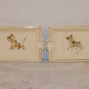 Scottie Dog Ashtray Set of 4 Vintage Japan Gold Ivory Ashtrays Gold Dog Terrier Tray Hollywood Regency Tobacciana Collectible Dog Collector