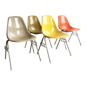 Delicieux Vintage Herman Miller Fiberglass Shell Chairs   Set Of 4