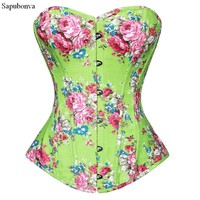 Sapubonva women corsets bustiers tops print floral lingerie vintage strapless overbust corset zip pattern corselet green pink