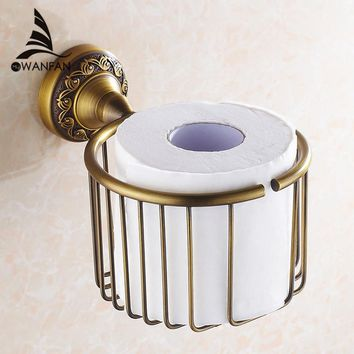 Paper Holders Antique Brass Wall Shelf Toilet Paper Roll Tissue Basket Shampoo Storage Bathroom Accessories Paper Rack 3722