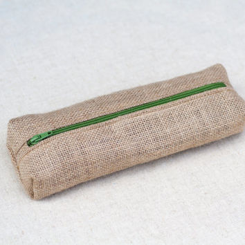 Natural burlap pencil case with green zip closure