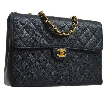 Authentic CHANEL Quilted CC Jumbo Double Chain Shoulder Bag Black Caviar K06693