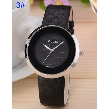 Gucci Pu Watchband More Print Logo watches men's and women's fashion watches B-CTZL Black
